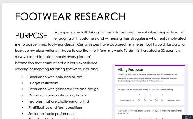 Hiking Footwear Research